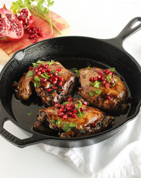 3-Ingredient Pomegranate Balsamic Chicken Thighs