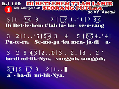 Lirik dan Not Kidung Jemaat 110 Di Betlehem T'lah Lahir Seorang Putra