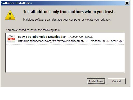 add-on and open the installation window