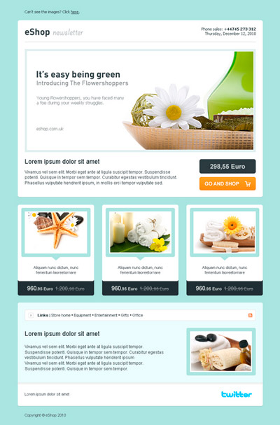 eShop Newsletter: HTML Email Template para sitios de eCommerce y blogs
