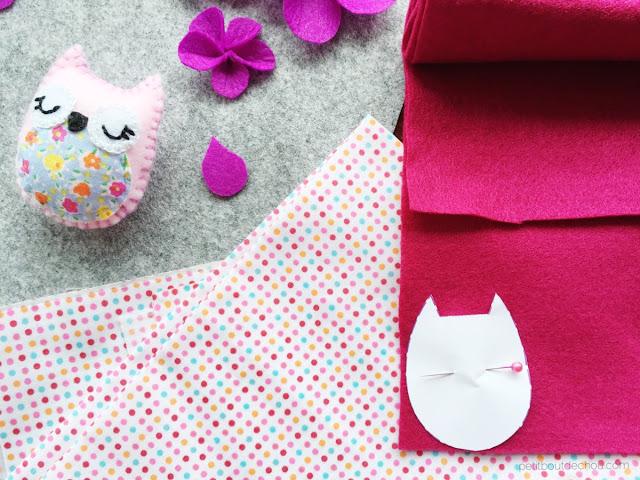 DIY stuffed felt owl with free pattern - cutting felt and fabric