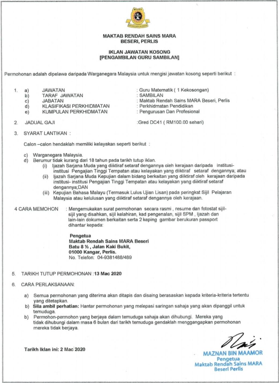 Permohonan Jawatan Guru Maktab Rendah Sains Mara (MRSM)