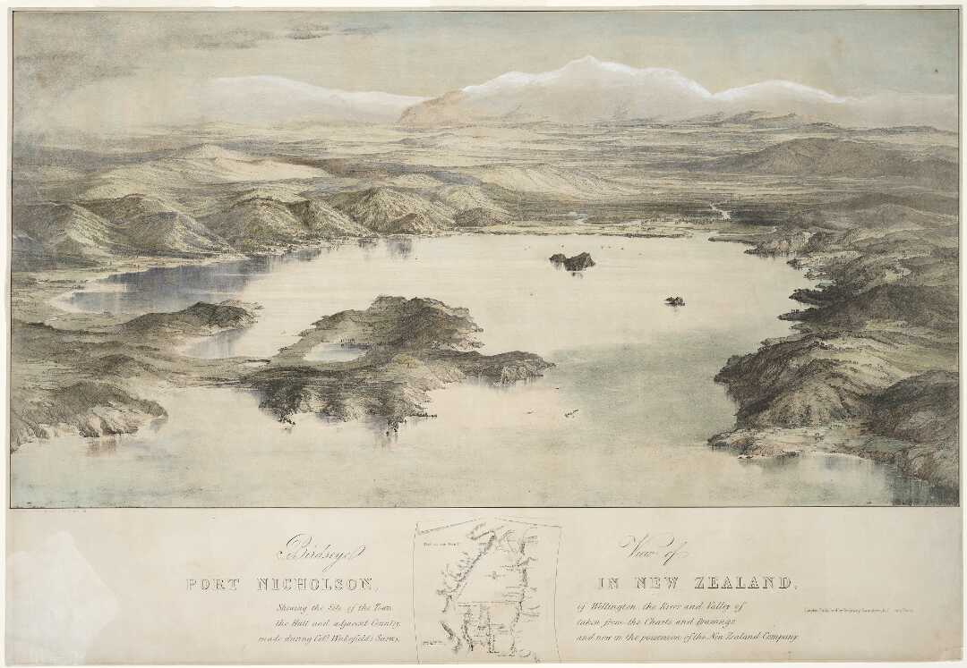 Heaphy, Charles] 1820-1881 :Birdseye view of Port Nicholson, in New Zealand, shewing the site of the town of Wellington, the river and valley of the Hutt and adjacent country
