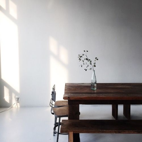 Slow living rustic farm table, bench, and chairs - found on Hello Lovely Studio