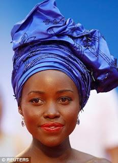 Lupita Nyong'o Tiffany and Co tanzanite and white diamonds earrings