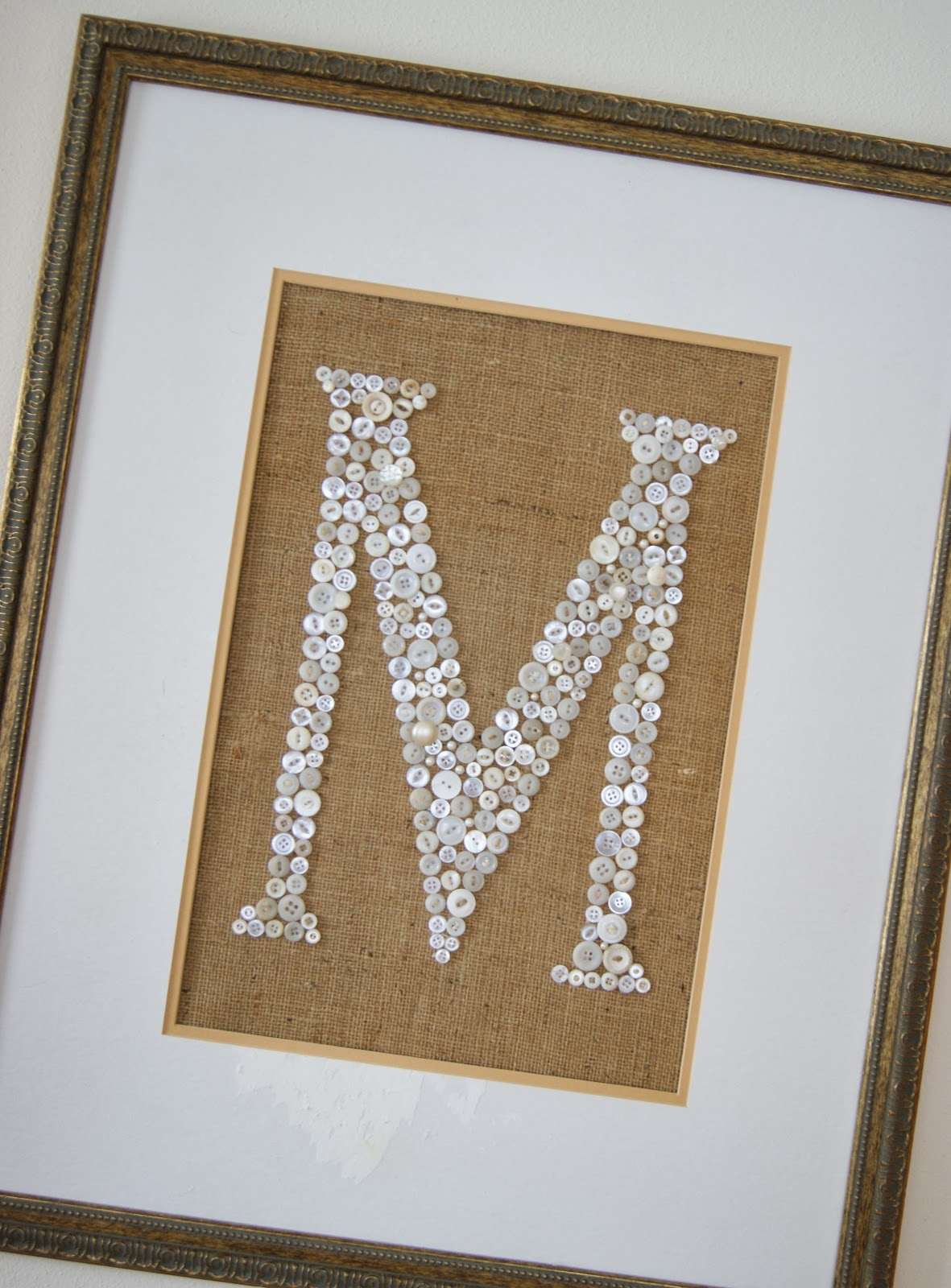 button and burlap wall art
