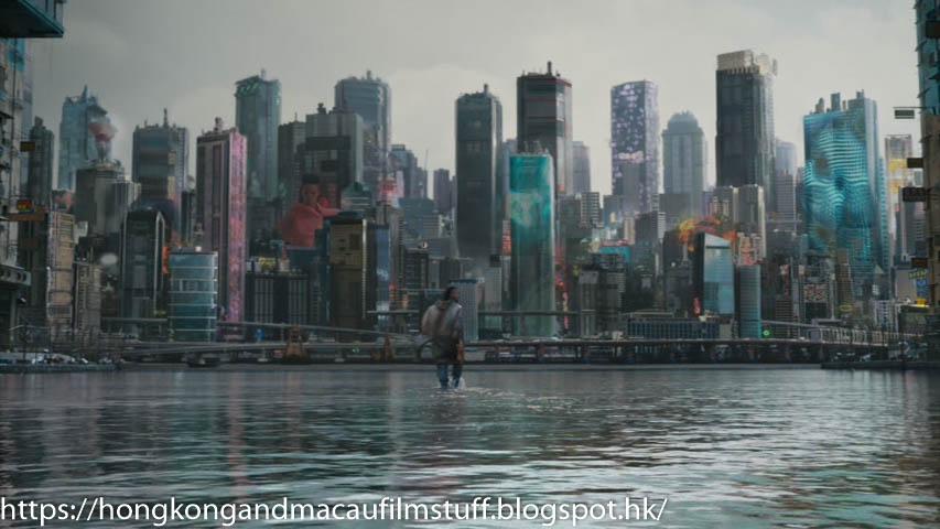 Hong Kong Macau Film Stuff Ghost In The Shell Scarlett Johansson 2017 Hong Kong Island Backdrop