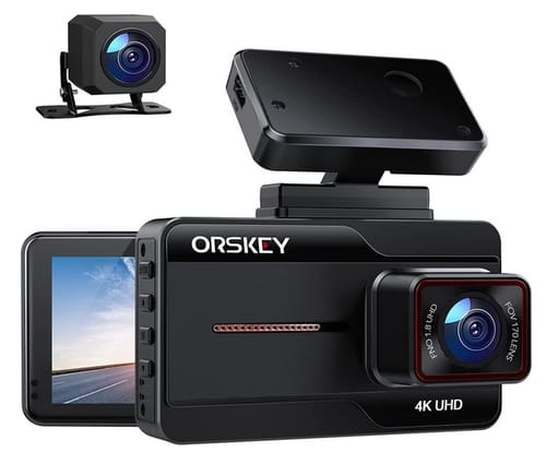 ORSKEY 4K Dual Dash Cam for Cars with 3 Inch IPS Screen