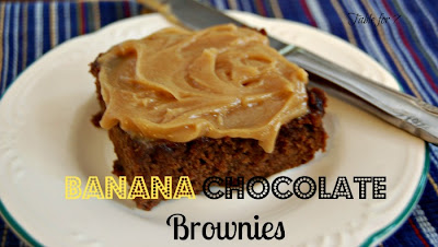 Banana Chocolate Brownies with Peanut Butter Frosting