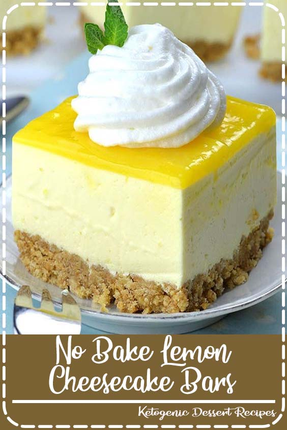 Easy No Bake Lemon Cheesecake Bars with graham cracker crust and lemon curd topping is lig No Bake Lemon Cheesecake Bars