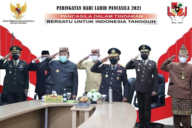 Gubernur Arinal Djunaidi Ikuti Upacara Hari Lahir Pancasila Tahun 2021