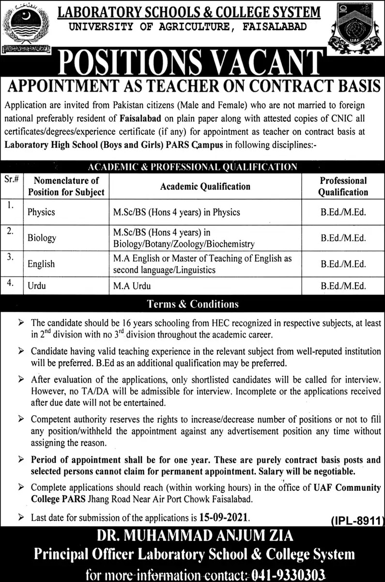 University of Agriculture Faisalabad Jobs 2021