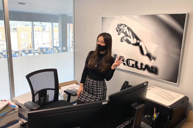 Moça em escritório, com quadro de jaguar ao fundo