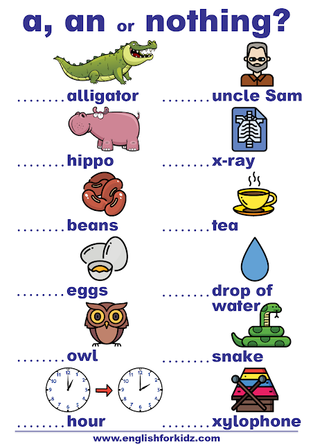 Indefinite articles worksheet - exercises for elementary students
