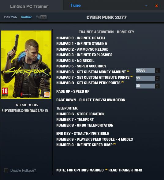 Cyberpunk 2077: Trainer (+16) [1.0.5]