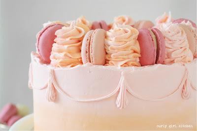 Watercolor Cake, Cake with Macarons, Funfetti Cake, Pink Birthday Cake, Pink and Orange Cake