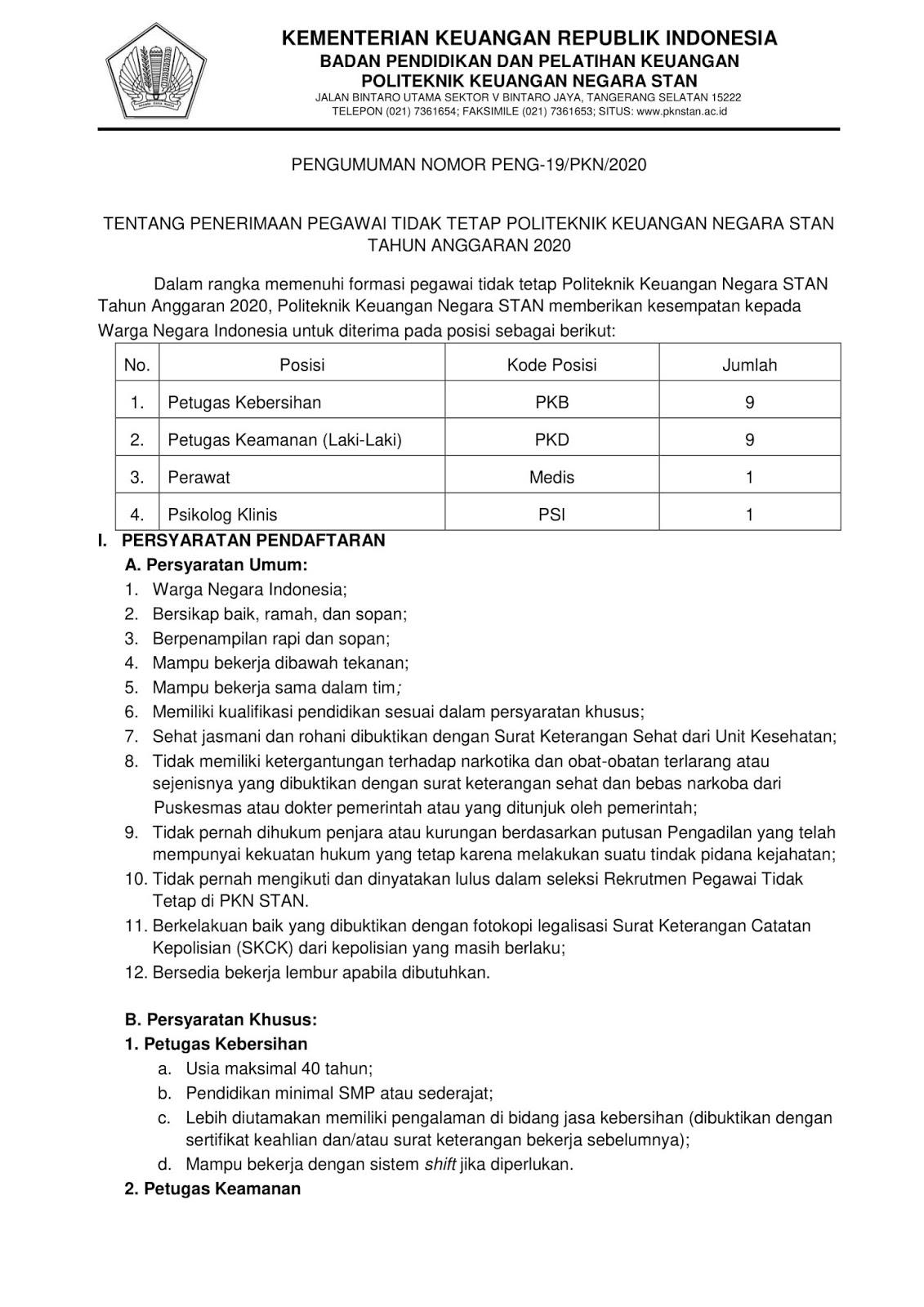 Rekrutmen Non PNS Pegawai PTT PKN STAN Kementerian Keuangan Bulan Maret 2020