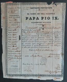 Artusi's original 1846 Papal States passport from Pope Pius IX