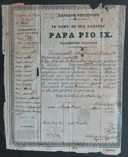 Pellegrino Artusi's 1846 Papal State passport from Pope Pius IX
