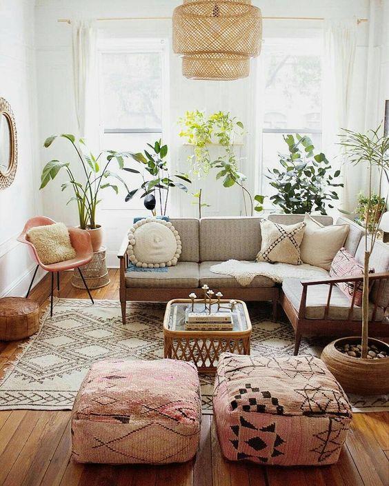 great boho living room interior design idea