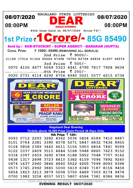 Nagaland State Lottery Sambad 08-07-2020 Today Result 8 PM