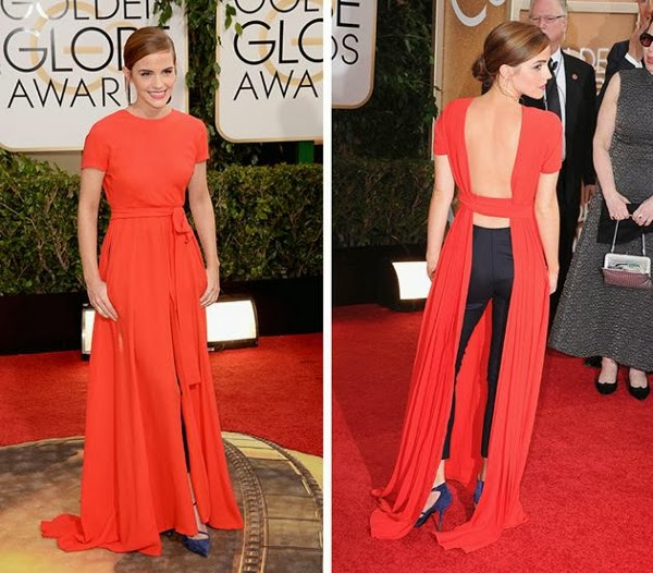 Emma Watson's Golden Globes 2014 Dior outfit from the front and back