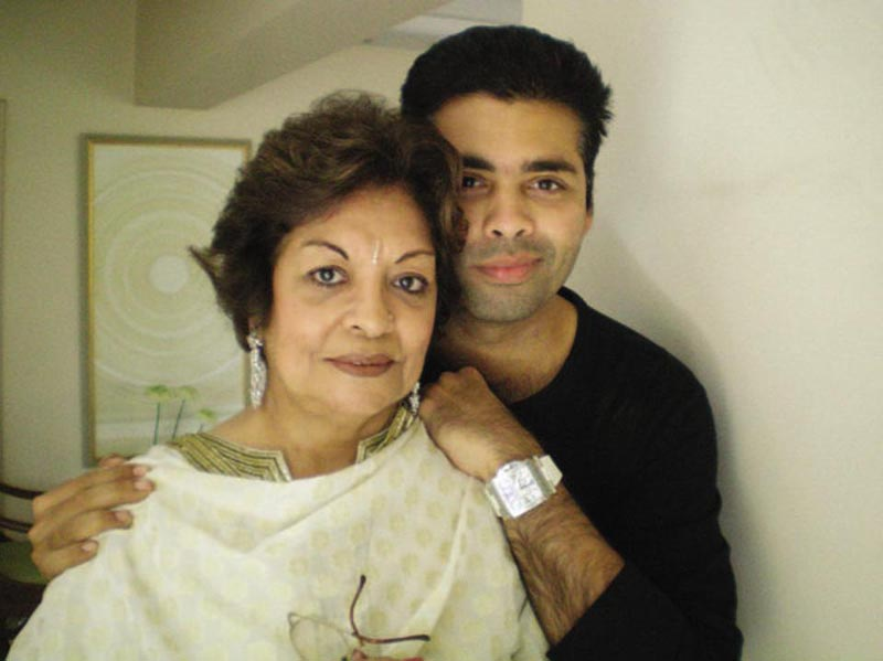 Karan Johar with mom Hiroo Johar