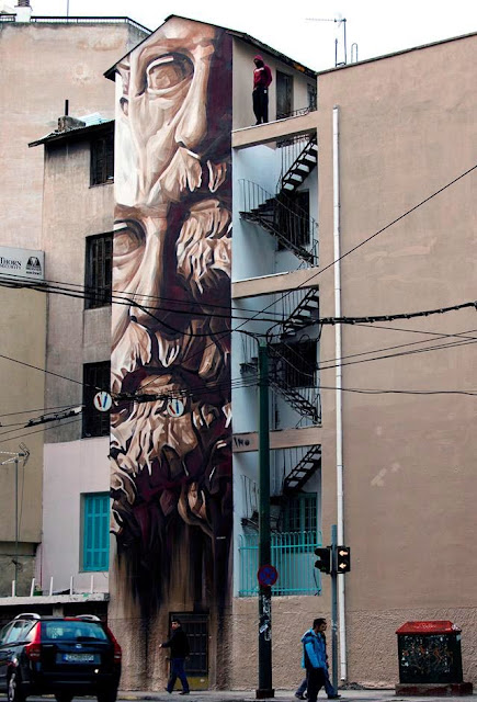 """""""System Of A Fraud"""" New Urban Art Mural By Greek Artist Ino1 In Athens. 1"""