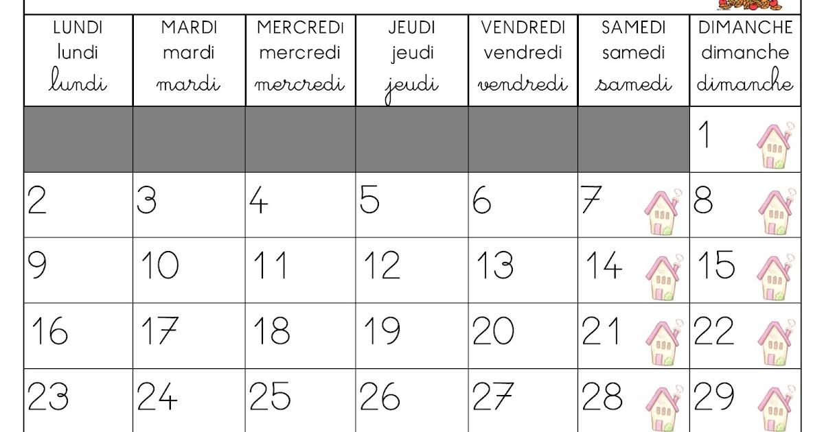 Calendrier A Imprimer Novembre 2020.La Maternelle De Laurene Calendriers 2019 2020