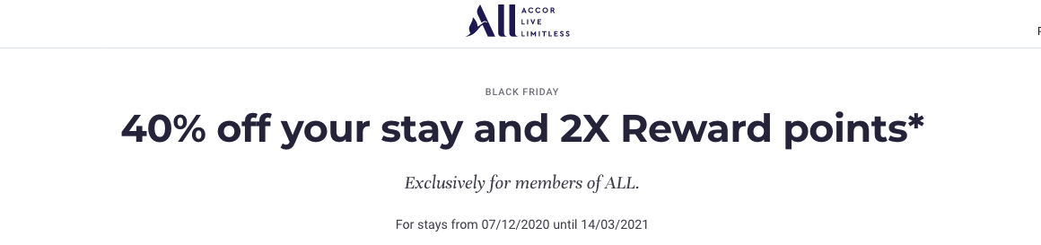 Accor Hotels Black Friday Canada Offer – 40% discount + double ALL Rewards points