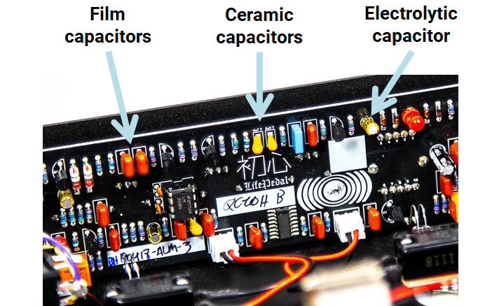 Capacitors in a guitar pedal
