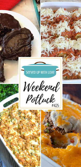 Weekend Potluck featured recipes include Better Brownies from a Mix, Monterey Chicken Spaghetti Casserole, Sausage-Spinach Lasagna Roll-Ups, Shepherd's Pie, and so much more.