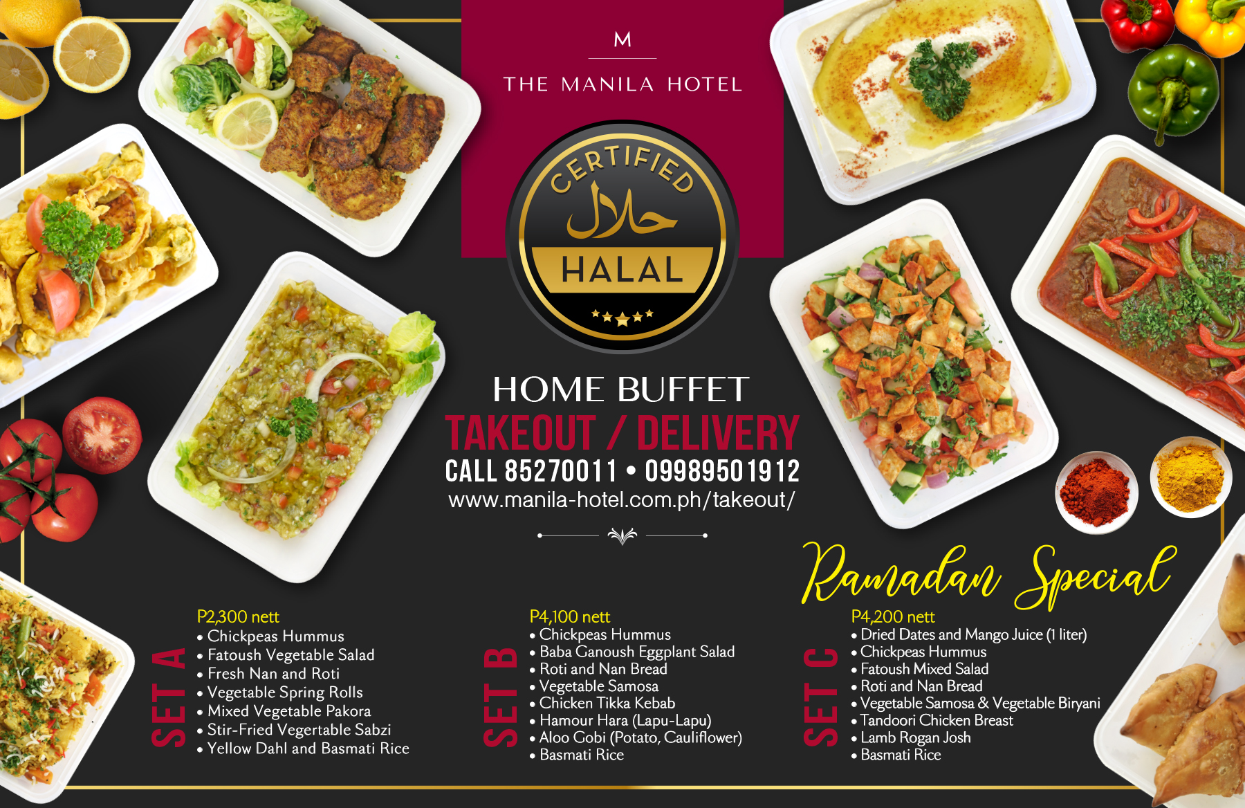 The Manila Hotel Café Ilang-Ilang is now offering halal-certified food for Takeout and Delivery!