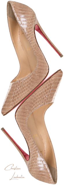 Christian Louboutin So Kate brown python snakeskin leather pumps #brilliantluxury