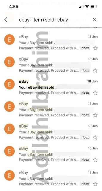 Hasil jualan di Ebay pada 18 Jun 2021