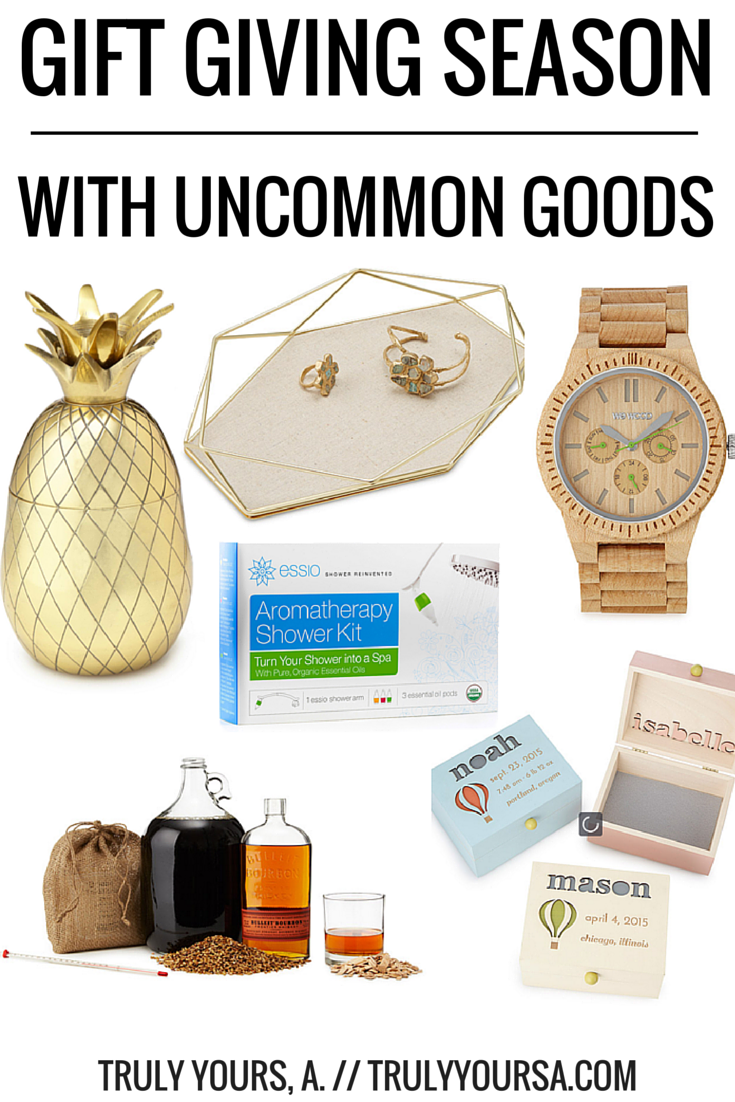 A gift guide for Mother's Day, Father's Day, and baby showers featuring Uncommon Goods.