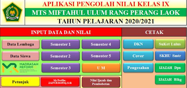Aplikasi Pengolah Nilai (MI, MTs Dan MA) 2021