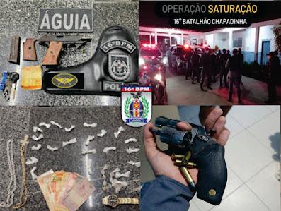 'Operação Saturação' nas cidades de Chapadinha, Mata Roma e Urbano Santos, apreende armas de fogo, realiza prisões, recupera veículos roubados e dois assaltantes mortos em confronto com a Polícia Militar