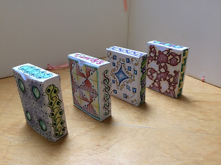 Tuck boxes for flashcards made from cardstock and decorated using Zentangle and ZIA