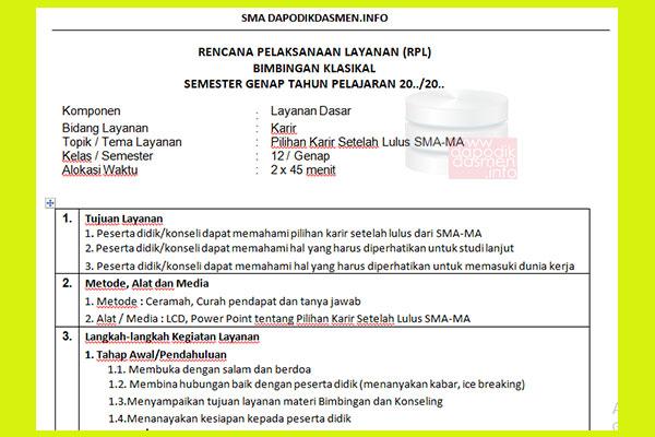 RPL BK SMA Kelas 12 Revisi Terbaru 1 Halaman Kurikulum 2013, Contoh Rencana Pelaksanaan Pelayanan BK Bimbingan Konseling Format 1 Lembar