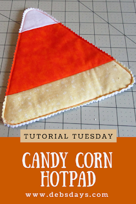 Homemade Candy Corn Hot Pad from Fabric Scraps