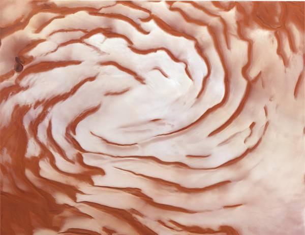 Características de la espiral en el polo norte de Marte.
