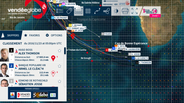 Tracking - Vendee Globe 2016-17 - Nov 23, 2016 - 5pm UTC