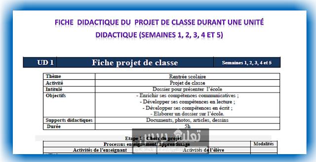 Fiche didactique du projet de classe durant une unité didactique