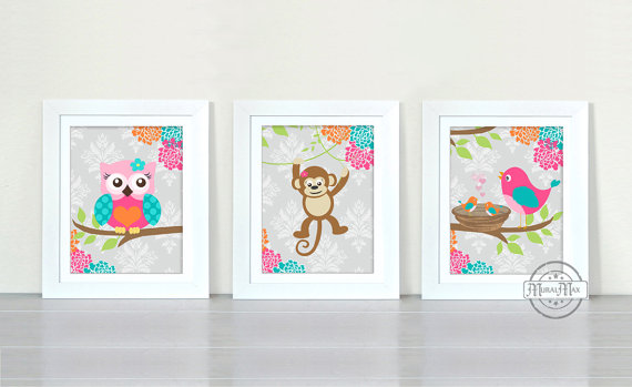 Baby Nursery Art Print Owl Monkey Birds Room Decor Wall For Or Playroom Aqua Pink Gray
