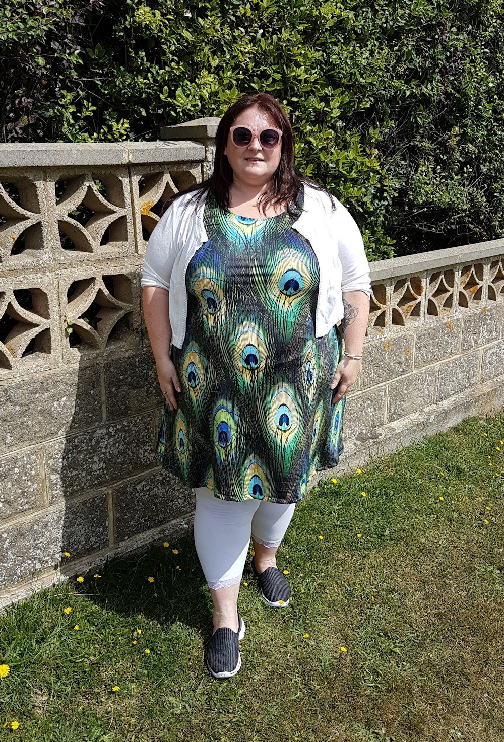 CowCow peacock print plus size skater dress // www.xloveleahx.co.uk