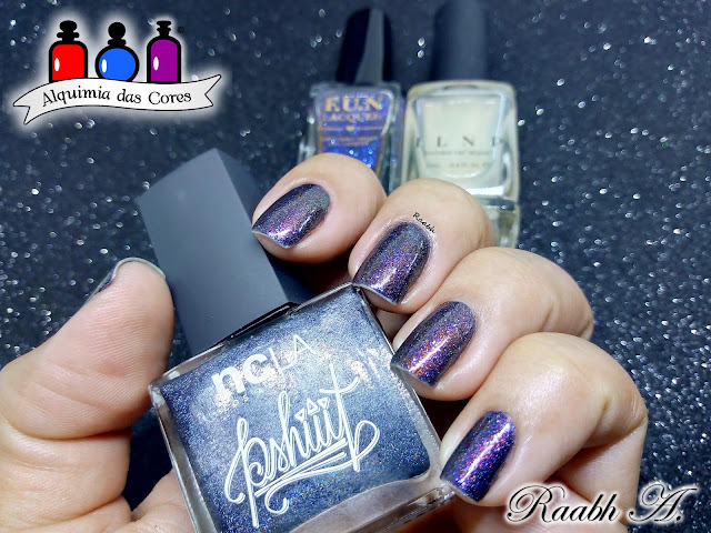 Raabh A. 2018, , Preto, esmalte holográfico, NCLA Wandering Stars, NCLA PSHIIIt collection, FUN Lacquer Style, ILNP The Magician, Semana NCLA, Esmalte Indie,