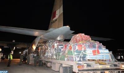 اول طائرة مغربية محملة بالمساعدات للفلسطينيين تغادر في إتجاه عمان