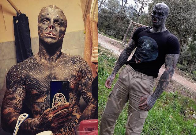 Парень, который ради красоты отрезал себе нос и забил всё тело тату, поделился нежным фото с мамой