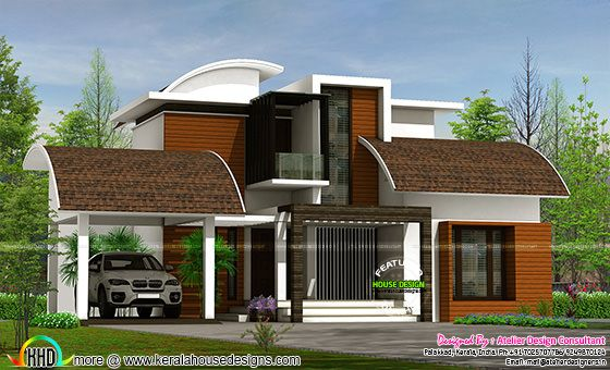 Contemporary style semi curved roof mix home